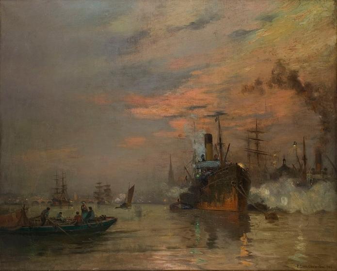 Le port de Bordeaux au soleil couchant, Pierre-Louis Cazaubon, 1921, collection musée d'Aquitaine. Crédit photo musée d'Aquitaine.
