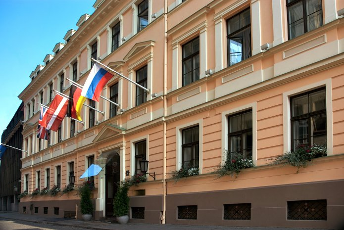 Façade du Grand Palace Hôtel (Riga). Crédit photo Grand Palace Hôtel.