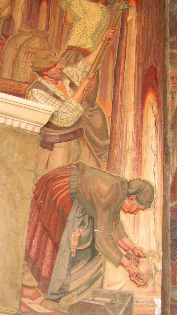 Les résiniers sur la fresque d'Albert Begaud (Bourse du Travail de Bordeaux).