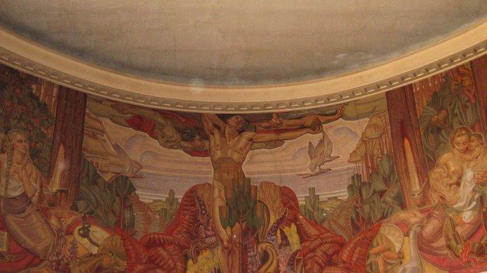 Partie centrale de le fresque d'Albert Bégaud (Bourse du Travail de Bordeaux).