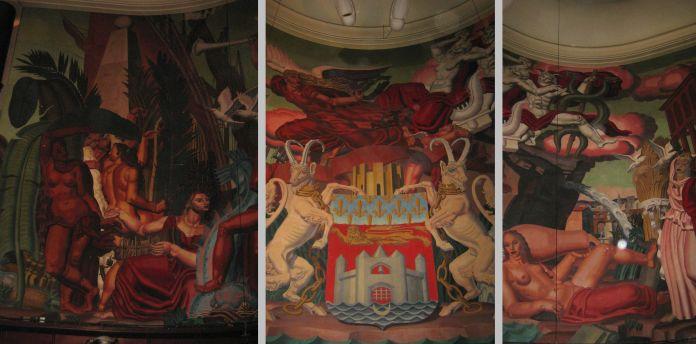 Juxtapositions de photos recomposant la grande fresque de Jean Dupas de la salle Ambroise Croizat (Bourse du Travail de Bordeaux).