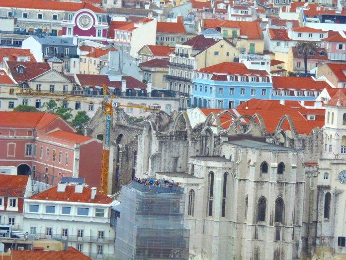 Eglise do Carmo, château Sao Jorge, Lisbonne, Lisboa, Portugal