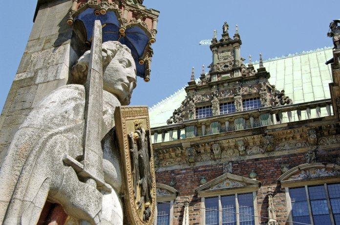 Hôtel de ville et statue de Roland à Brême, Bremen, Allemagne