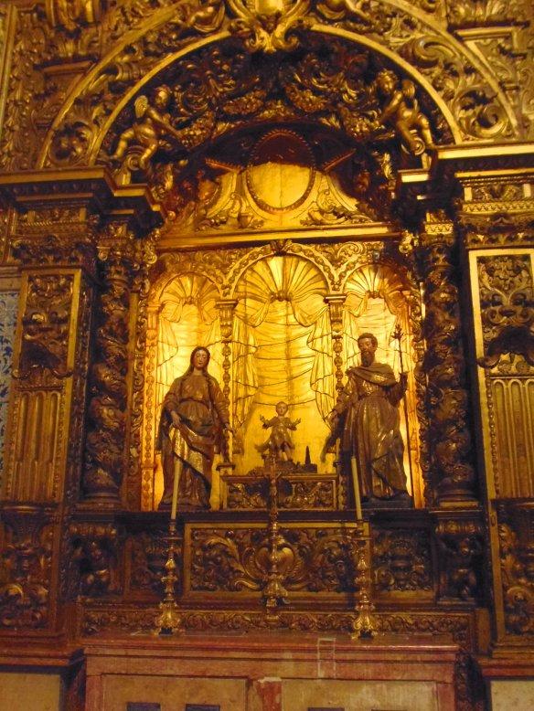 Musée azulejos, décor doré, Lisbonne, Lisboa, Portugal.