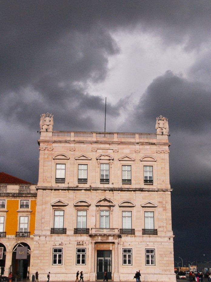 Place du commerce, pavillon, Tage, Lisbonne, Lisboa, Portugal