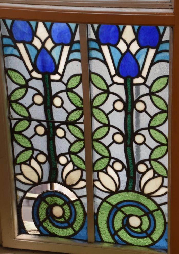 motif floral vitrail Villa Darvas-Laroche Oradea Roumanie