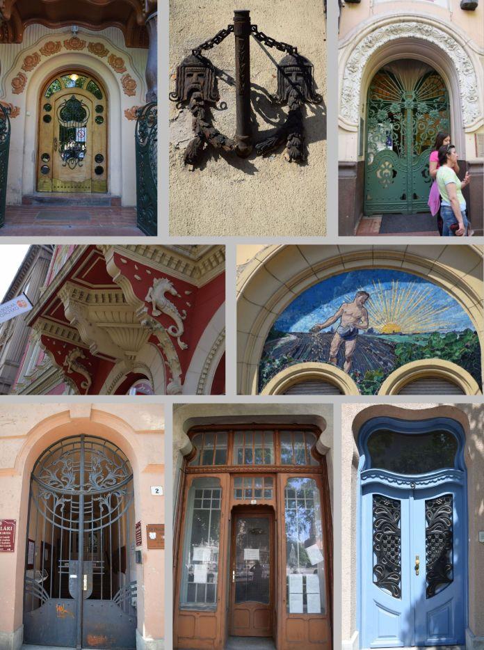Portes et détails d'architecture, Szeged Subotica Hongrie Roumanie