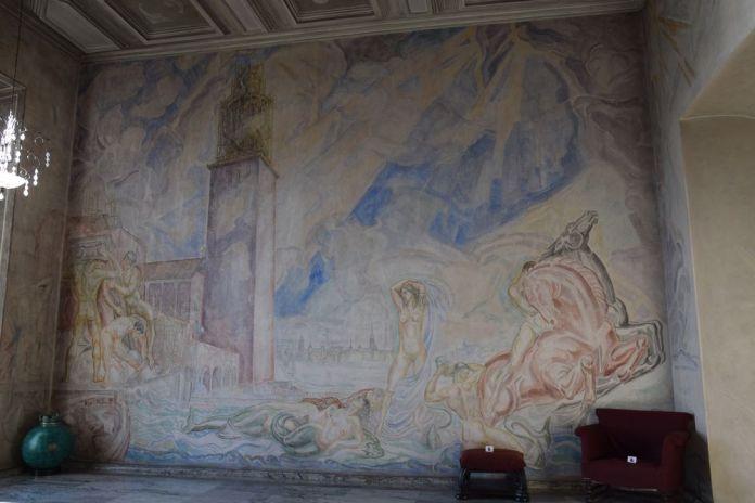 fresque grecquisante hôtel de ville stockholm suède sweden