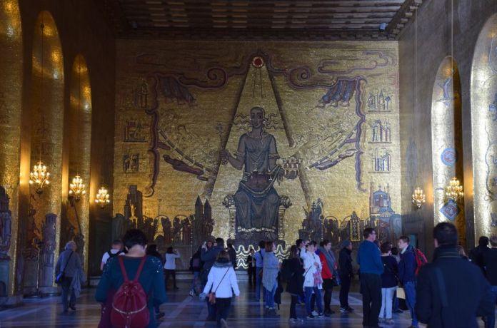 mosaïques d'or hôtel de ville de stockholm suède sweden