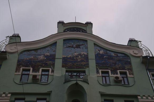 fronton en céramique maison sokol moscou moscow russie russia