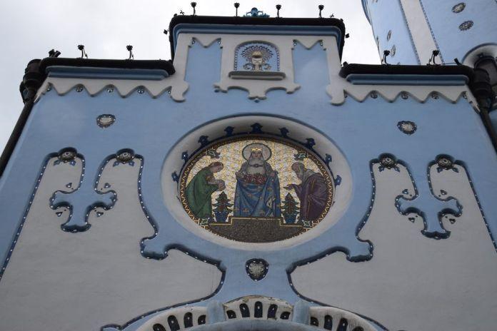 médaillon en mosaïques saint-élisabeth église bleue bratislava