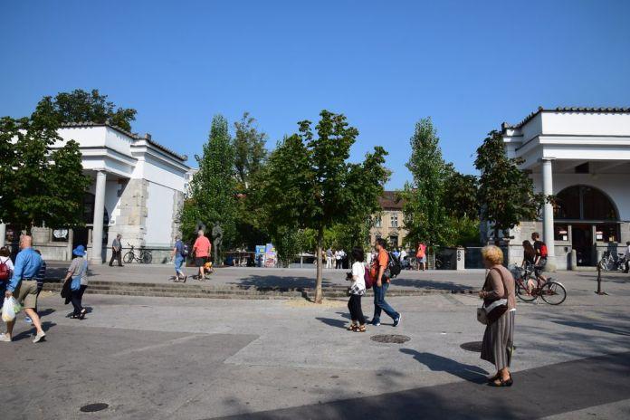 esplanade du marché de Ljubljana