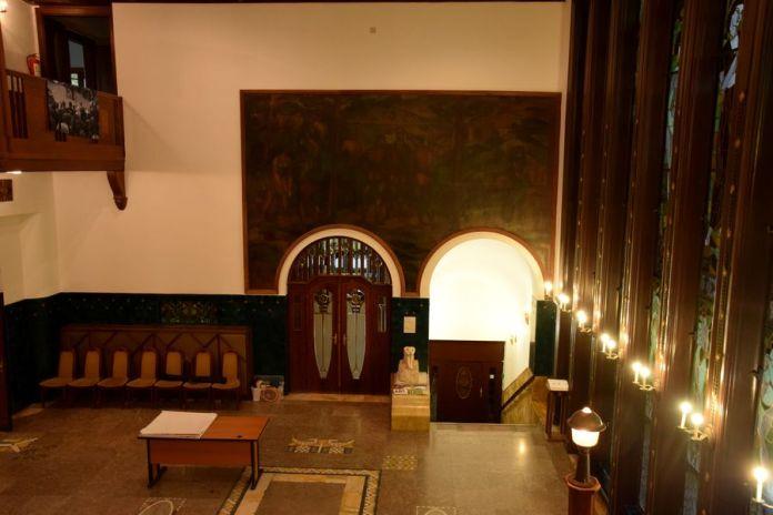 hall d'entrée villa schiffer budapest marqueterie de marbre