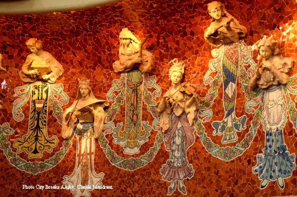 musiciennes arrière de la scène palais de la musique Catalane Barcelone