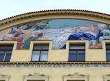 Prague, fronton, mosaïques, ArtNouveau, Masaryk
