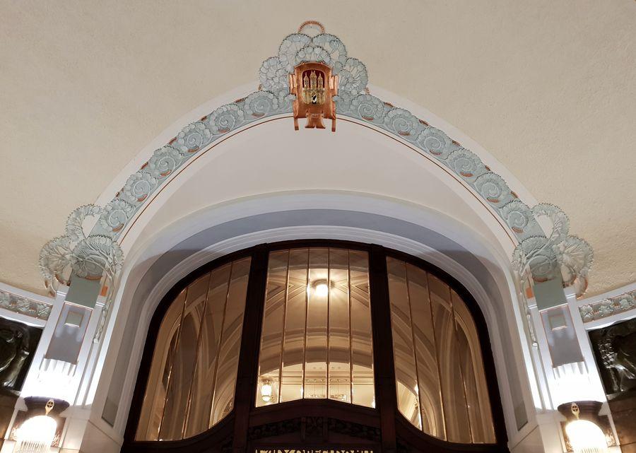 Prague, MaisonMunicipale, plafond, ArtNouveau