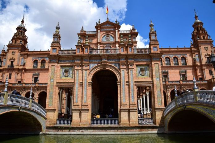 Séville, bâtiment, place, despagne